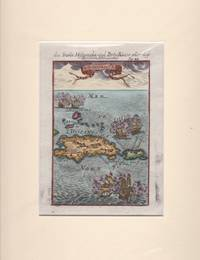 1685 Original Copper Engraving D'Hispanola et P.Rico Showing the Islands of the Caribbean and Sailing Vessels
