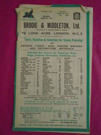 BRODIE & MIDDLETON Ltd. Colours, Brushes &  Sundries for Scene Painting  Catalogue Revised August 1957