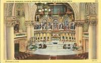 Interior, Memorial Church, Stanford University, Palo Alto, California unused linen Postcard