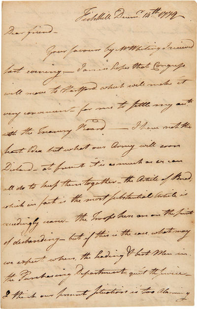 Fishkill, N.Y., 1779. pp. on recto and verso of first leaf, and docketed on verso of integral blank ...