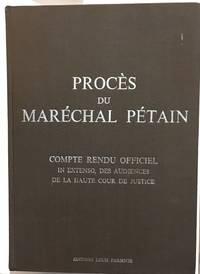 image of Procès du Maréchal Pétain : compte rendu officiel in extenso des audiences de la Haute Cour de justice