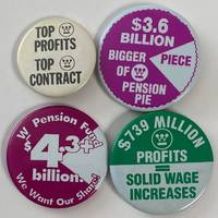 image of [Four different pinback buttons related to labor issues at Westinghouse]