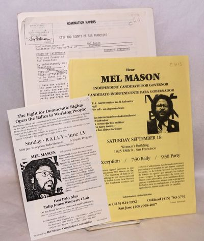 Los Angeles, etc.: Mel Mason for Governor Campaign Committee, 1982. Two 8.5x11 inch handbills, a sma...