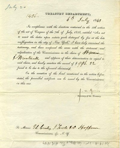Washington, D. C.: Treasury Department, 1843. Book. Very good+ condition. No Binding. Signed by Auth...