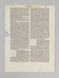 TEXT FROM GRAMMATICA by A PRINTED LEAF FROM THE OPUSCULA OF AURELIUS AUGUSTINUS - 1491 - from Phillip J. Pirages Fine Books and Medieval Manuscripts (SKU: ST11220c4)