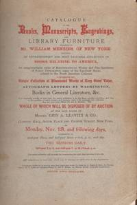Catalogue of the Books, Manuscripts, Engravings, Belonging to Mr. William Menzies, of New York