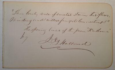 1878. unbound. 1 page, 4 x 6.75 inches, no place, removed from an autograph album dated 1878, signed...