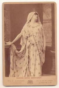 Albumen print  on photographer's mount, Cabinet size, W. & D. Downey, London.  Bernhardt is shown as Phèdre in Jean Racine's eponymous play, ca 1874. [see Getty Images]