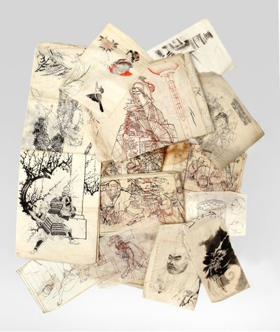 Brush, pen (?), & ink, many with background underdrawings in red ink. Approximately 200 drawings, ra...