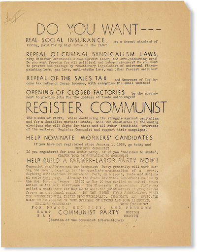 N.p. : Communist Party USA - East Bay Section Committee, . Broadside, 11