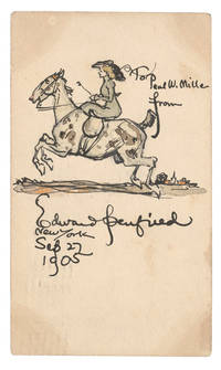 Watercolor of Lady on a horse on the back of a postcard sent to Paul W. Miller