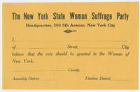 Woman Suffrage Party Urges Male New Yorkers to Pledge in Favor of Women's Suffrage