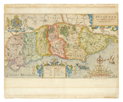 "London: . 4to., 12 3/4 x 15 1/2"", hand-colored engraving 8 5/8 x 15 1/4"", with a compass rose, t..."