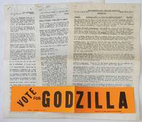 image of End Johnson's War! Vote For Godzilla! [three issues of the newsletter, with bumpersticker]
