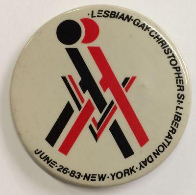 New York, 1983. 2.25 inch diameter pin, interlocked anthropomorphic red and white Lambda symbols, sm...
