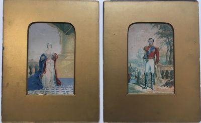 London: George Baxter, 1848. Prints. Set of 2. Baxter print on paper. Each 6