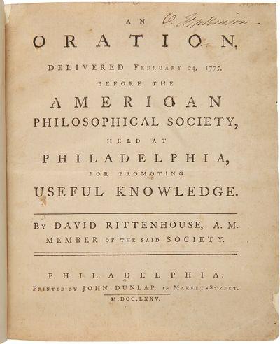 Philadelphia: Printed by John Dunlap, in Market-Street, 1775. 27 pp., errata note at foot of final p...