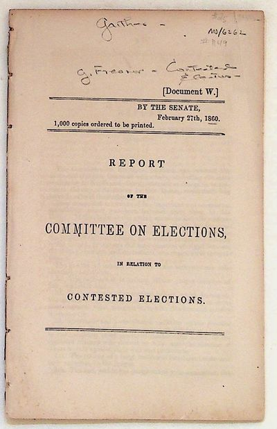 The Senate, 1860. Pamphlet. Very Good. Pamphlet. Very Good pamphlet. 1000 copies ordered to be print...