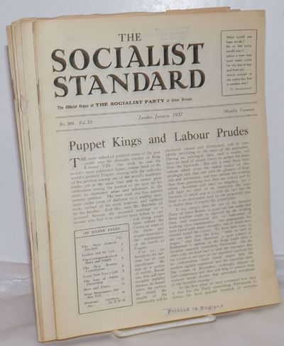 London: The Socialist Party of Great Britain, 1937. Issues 389-394, 400, missing issues395-399. Vari...