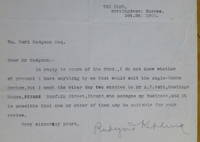"""Typed Letter Signed, to """"Wm. Earl Hodgson Esq."""""""