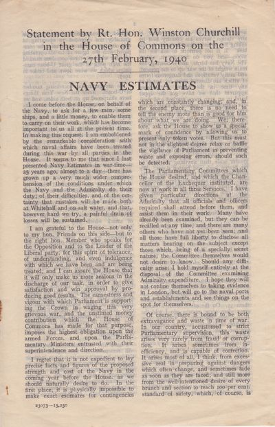 Churchill, Winston. Navy Estimates: Statement by Rt. Hon. Winston Churchill in the House of Commons ...