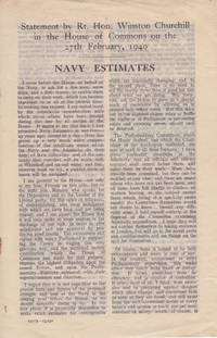 Statement by Rt. Hon. Winston Churchill in the House of Commons on the 27th February, 1940: Navy Estimates