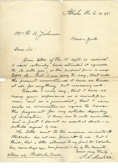 Rare Autograph Letter by Swedish...