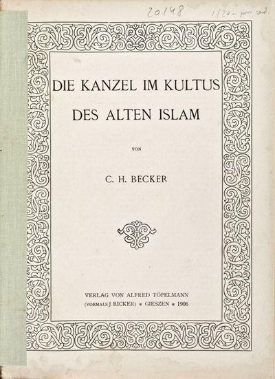 Gieszen: Verlag von Alfred Töppelmann (vormals J. Ricker), 1906. Hardcover. vg. Large 8vo. 21pp. fo...