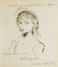 """Original ink and wash drawing of the head and shoulders of a young girl, inscribed to photographer Alfred Eisenstaedt, """"A picture of a great artist for Alfred"""", New York, March 1945"""