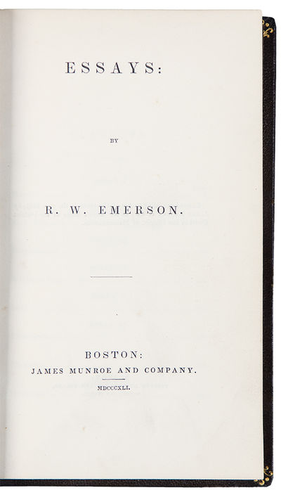 Boston: James Munroe and Company, 1841. 8vo. (7 x 4 1/4 inches). , 303, pp. Full brown morocco by Be...