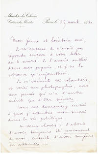 LETTER SIGNED BY FRANCOIS PIETRI, MINISTER FOR COLONIAL AFFAIRS IN THE THIRD FRENCH REPUBLIC, SENDING A YOUNG CORRESPONDENT HIS PHOTOGRAPH.