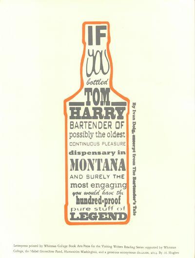 Whitman College Book Arts Press. Fine. 2014. Broadside. A letterpress broadside with a print of a bo...