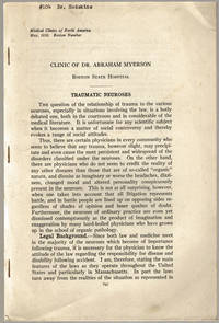 [drop-title] Clinic of Dr. Abraham Myerson. Boston State Hospital. Traumatic neuroses. by Myerson, Abraham - 1938