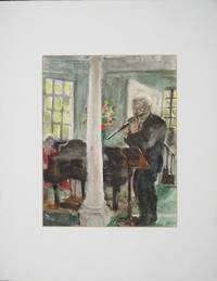 image of Watercolor of Julius Baker, head flute NY Philharmonic