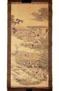 Two hanging scrolls, painted on silk in ink & colors (555 x 1215 mm.), carefully mounted on paper-backed silk, with silk brocade frames at each end & sides, depicting the cultivation, processing, and packaging of tea leaves by the Kanbayashi family of tea producers for the shogun and his circle