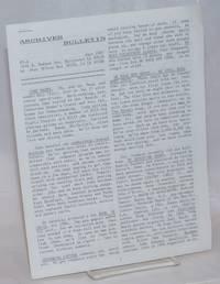 Archives Bulletin #5-A, June 1987