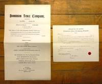 Dominion Fence Company prospectus and stock application