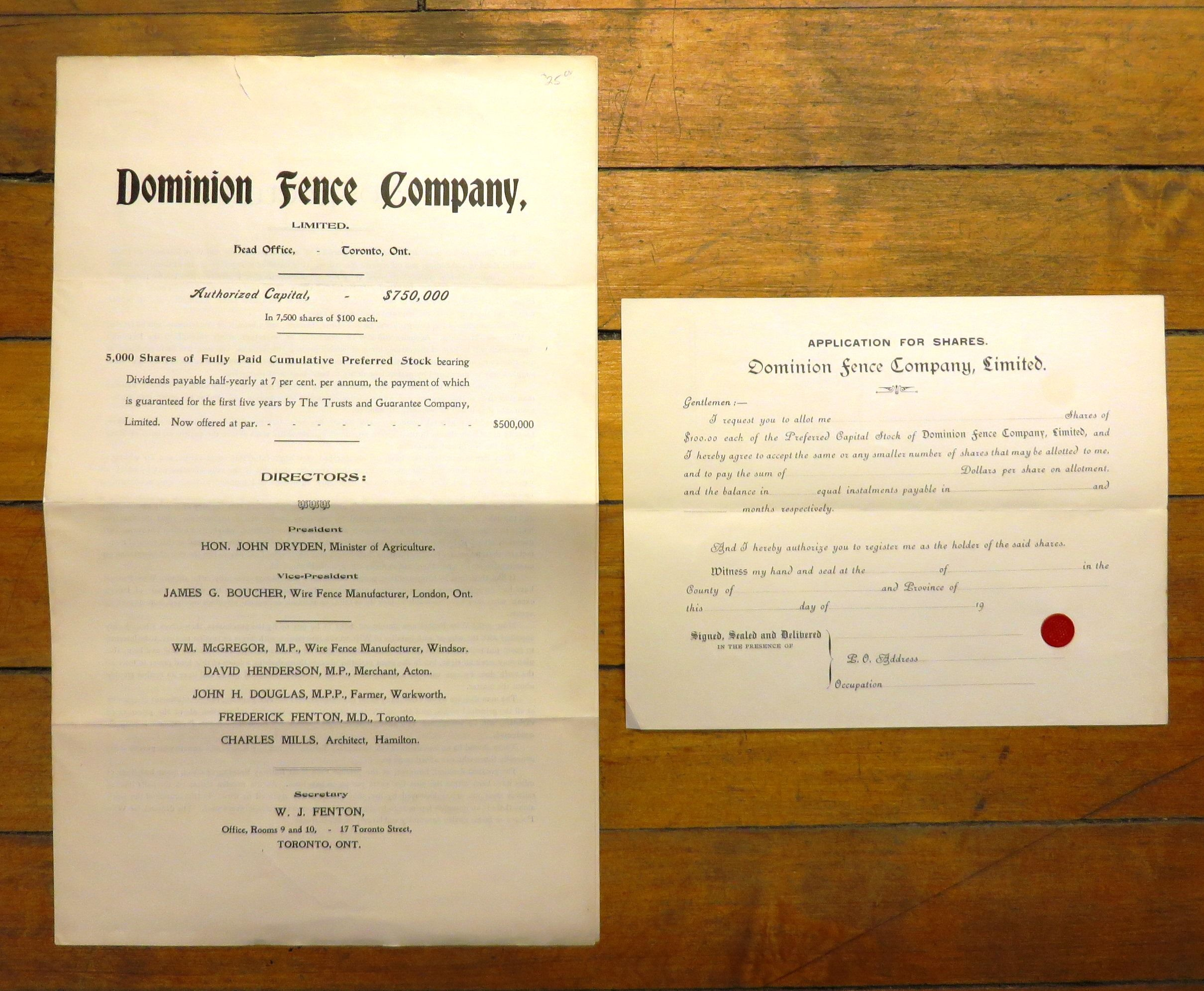 Dominion Fence Company Prospectus And Stock Application