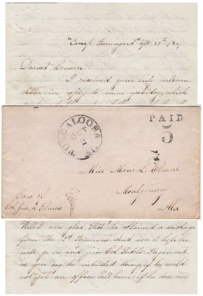 Tuscaloosa to Montgomery, Alabama, 1861. Envelope or Cover. Very good. This letter is datelined