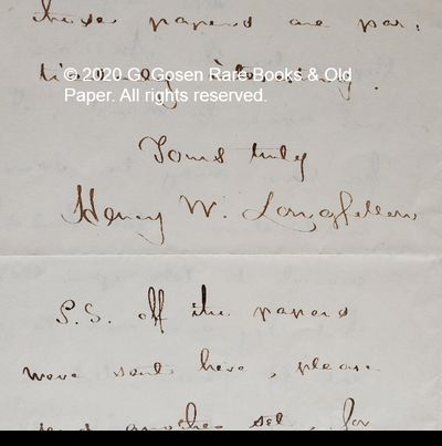 Henry Wadsworth Longfellow, Autograph letter dated July 9, 1855, signed