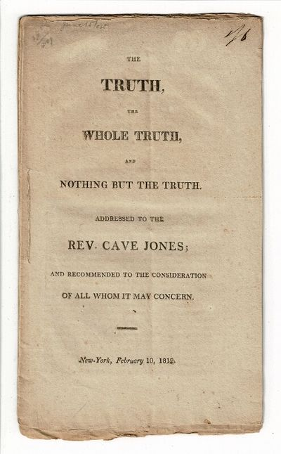 New York, 1812. First edition, 8vo, pp. , 4-22, ads; self-wrappers, stitched, as issued; very good. ...