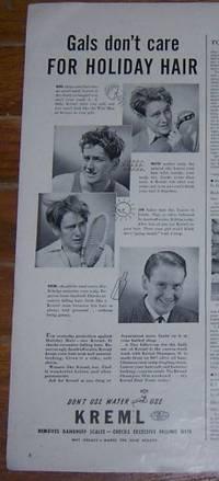 1941 KREML HOLIDAY HAIR MAGAZINE ADVERTISMENT
