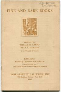 Rare Books: STC and Wing Titles, Illustrated Books, an Important Group of Dard Hunter Works on Papermaking, Works by Artists of Israel, Sale Number 2612 Public Auction Wednesday November 8 1967, Parke- Bernet Galleries Inc