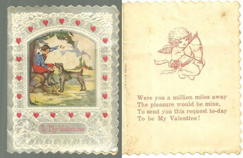 VINTAGE VALENTINE WITH LITTLE BOY PLAYING FETCH WITH DOG, Valentine