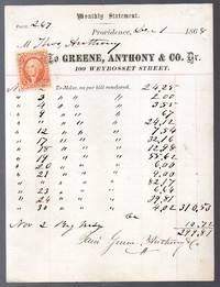 image of 1868 Billhead from Greene, Anthony and Company Providence Rhode Island ephemera