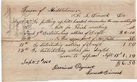 HANDWRITTEN RECEIPT TO THE TOWN OF MIDDLETOWN, CONNECTICUT FOR DIMOCK'S SERVICES IN 1862 RELATED TO THE CIVIL WAR