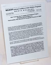 NCAVP Media Release: New York City Gay & Lesbian Anti-Violence Project releases National Report on \