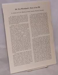image of Mr. Don Whitehead's story of the FBI. A criticism by G.W. Elderkin, professor emeritus, Princeton University