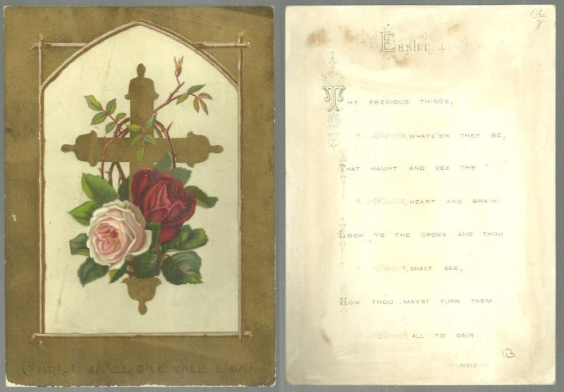 Image for VICTORIAN EASTER CARD WITH GOLD CROSS AND ROSES