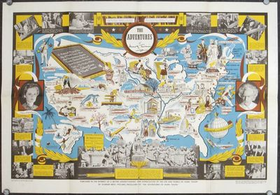 Warner Bros.. No date. .. Color pictorial / pictographic map, 18 3/4 x 28 1/2 inches on sheet 21 1/2...